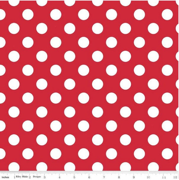 White Medium Dot on Red C360-80 Minnie Mouse Spots