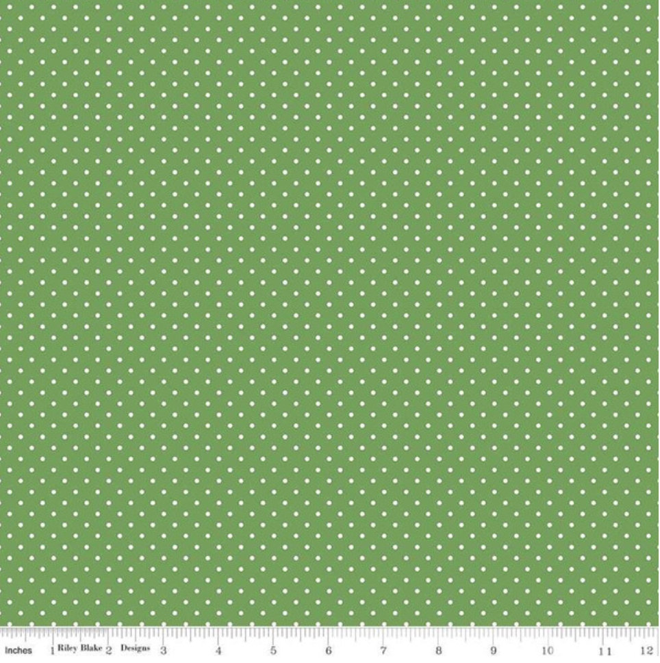 White Swiss Dot on Clover from Riley Blake Designs C670-Clover green dot polka dot