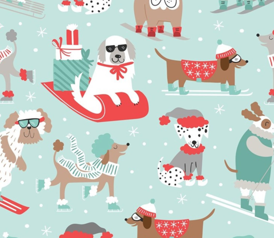 Winter Furries Blue  from the Snowlandia Collection designed by Maude Asbury for Blend Fabrics Pet Dogs Christmas