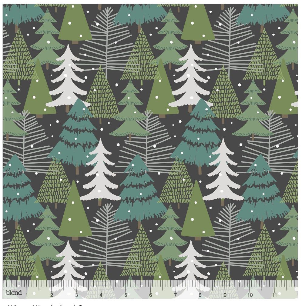 Winter Wonderland Grey from the Baubles & Boughs Collection designed by Maude Asbury for Blend Fabrics Christmas Trees 101.146.04.1
