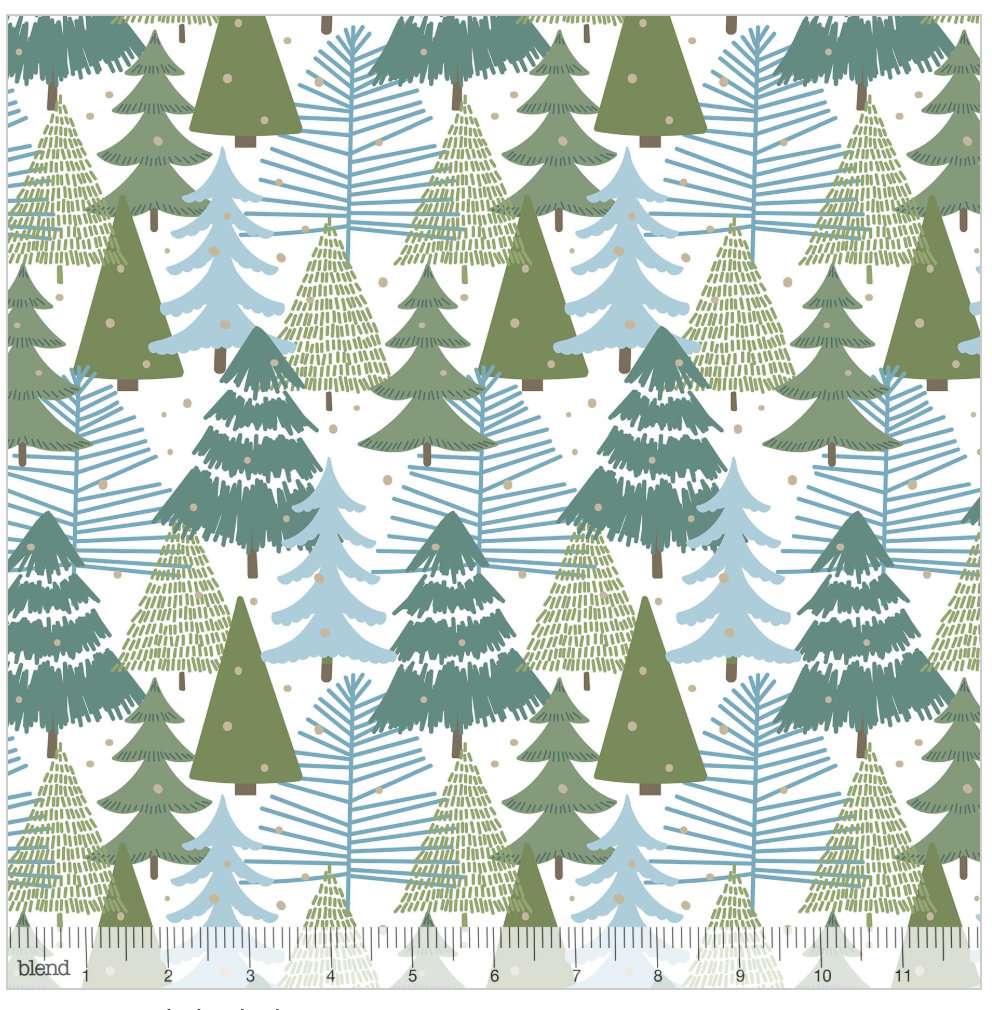 Winter Wonderland White from the Baubles & Boughs Collection designed by Maude Asbury for Blend Fabrics Christmas Trees 101.146.04.1