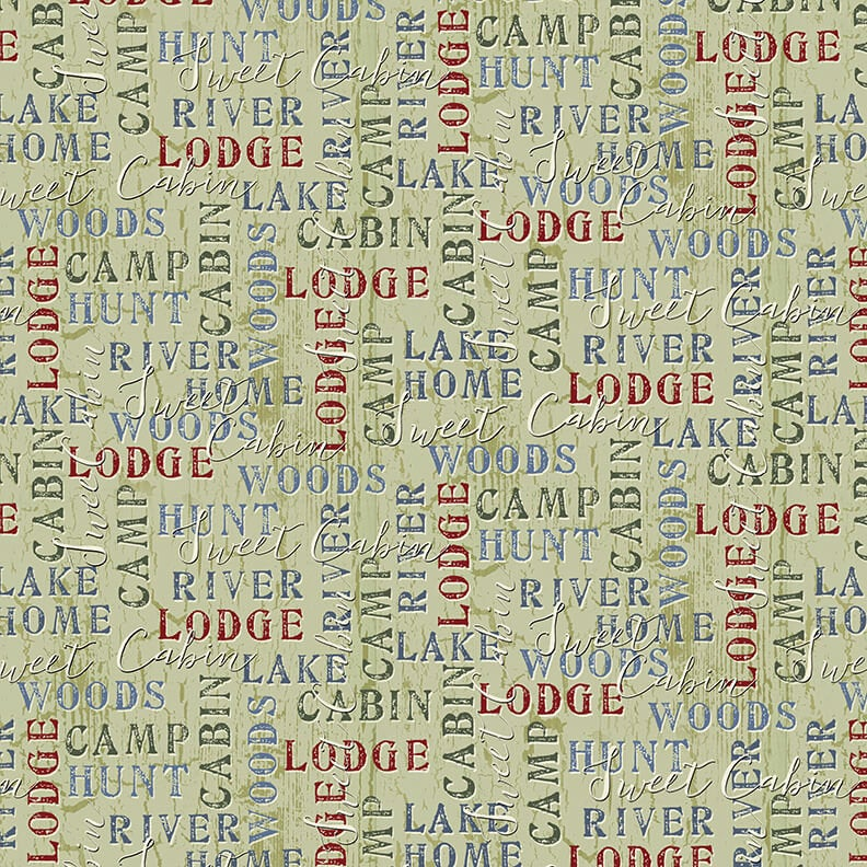 Word Print Lt. Green Q1687-66 Twilight Lake Collection from Henry Glass Fabrics.  Outdoor Lake Forest
