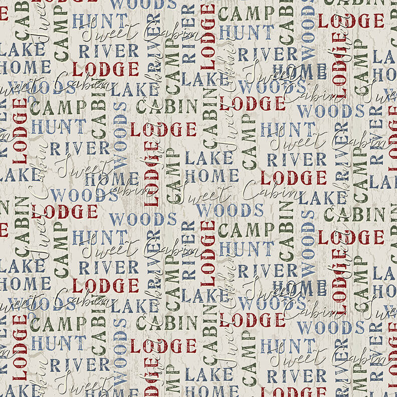 Word Print Lt. Grey Q1687-44 Twilight Lake Collection from Henry Glass Fabrics.  Outdoor Lake Forest