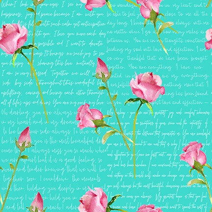 Words and Roses Love Letters collection by Barb Tourtillotte for Henry Glass & Co 1858-11 Aqua Valentine's Day