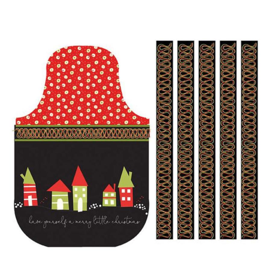 Merry Little Christmas Apron Panel Black designed by Sandy Gervais for Riley Blake Designs C9646-Black