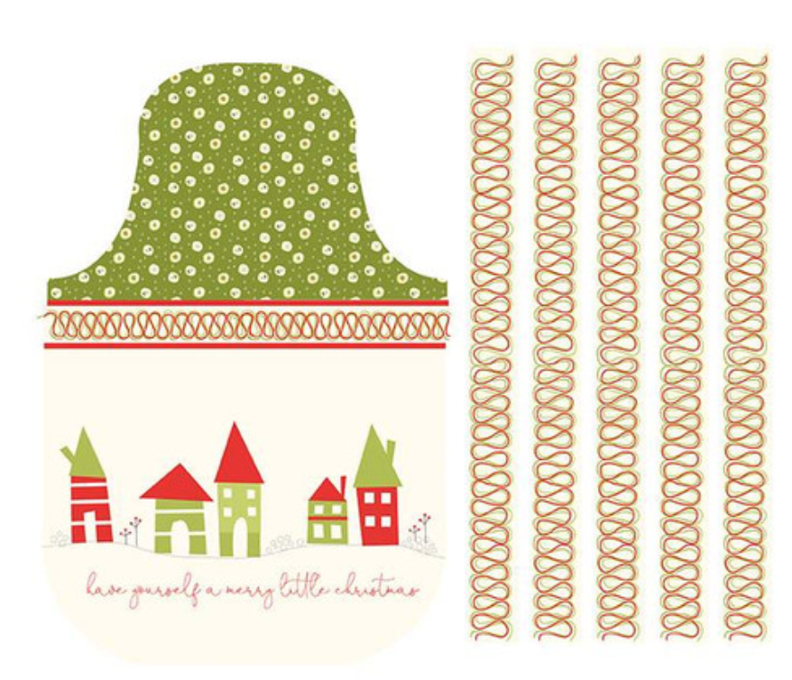 Merry Little Christmas Apron Panel Cream designed by Sandy Gervais for Riley Blake Designs C9646-Cream