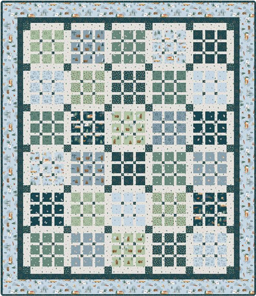 Camp Woodlands Quilt Kit with Prep School Picnic pattern  Fabric designed by Natalia Abello for Riley Blake Designs.