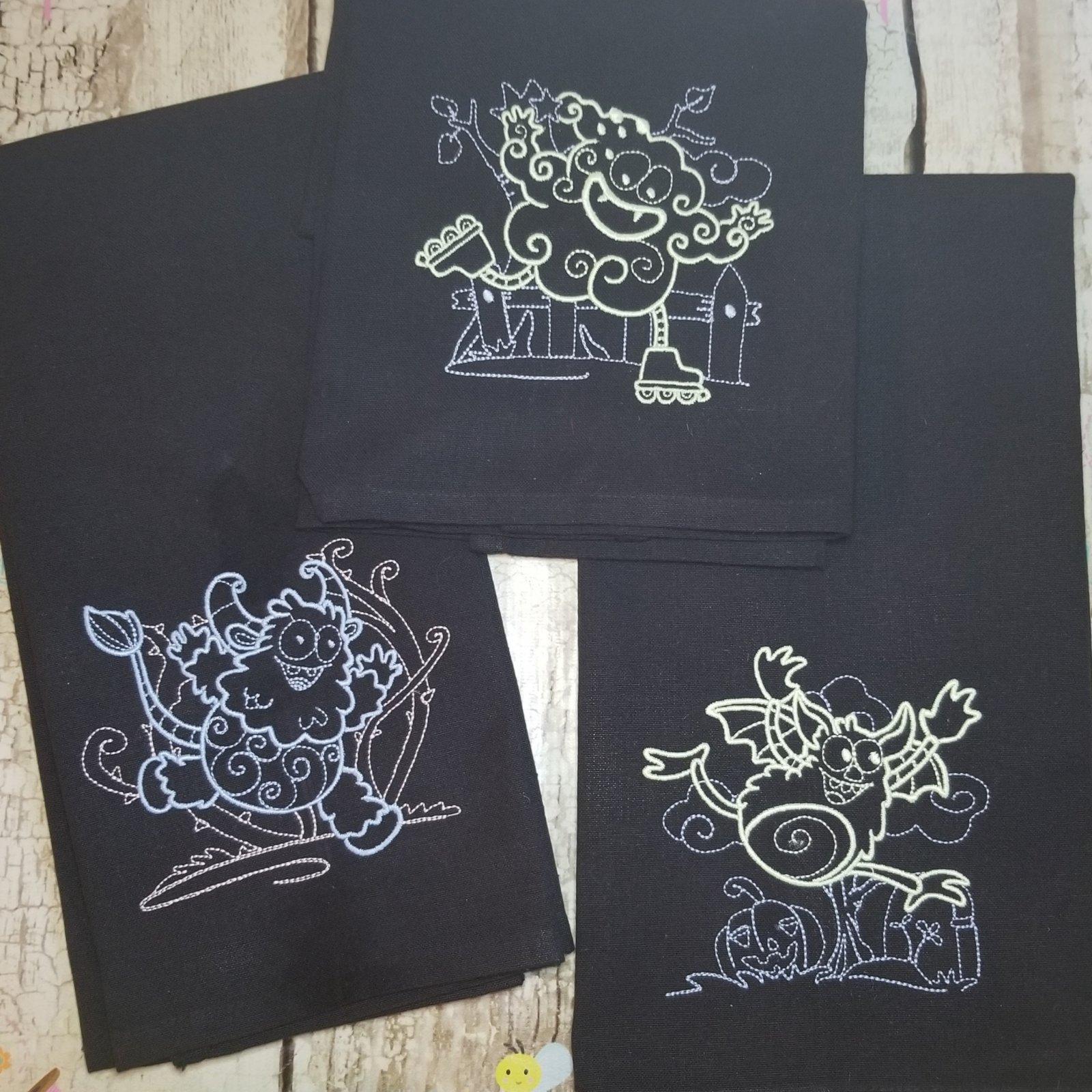 Halloween Monsters Machine Embroidery Design Set