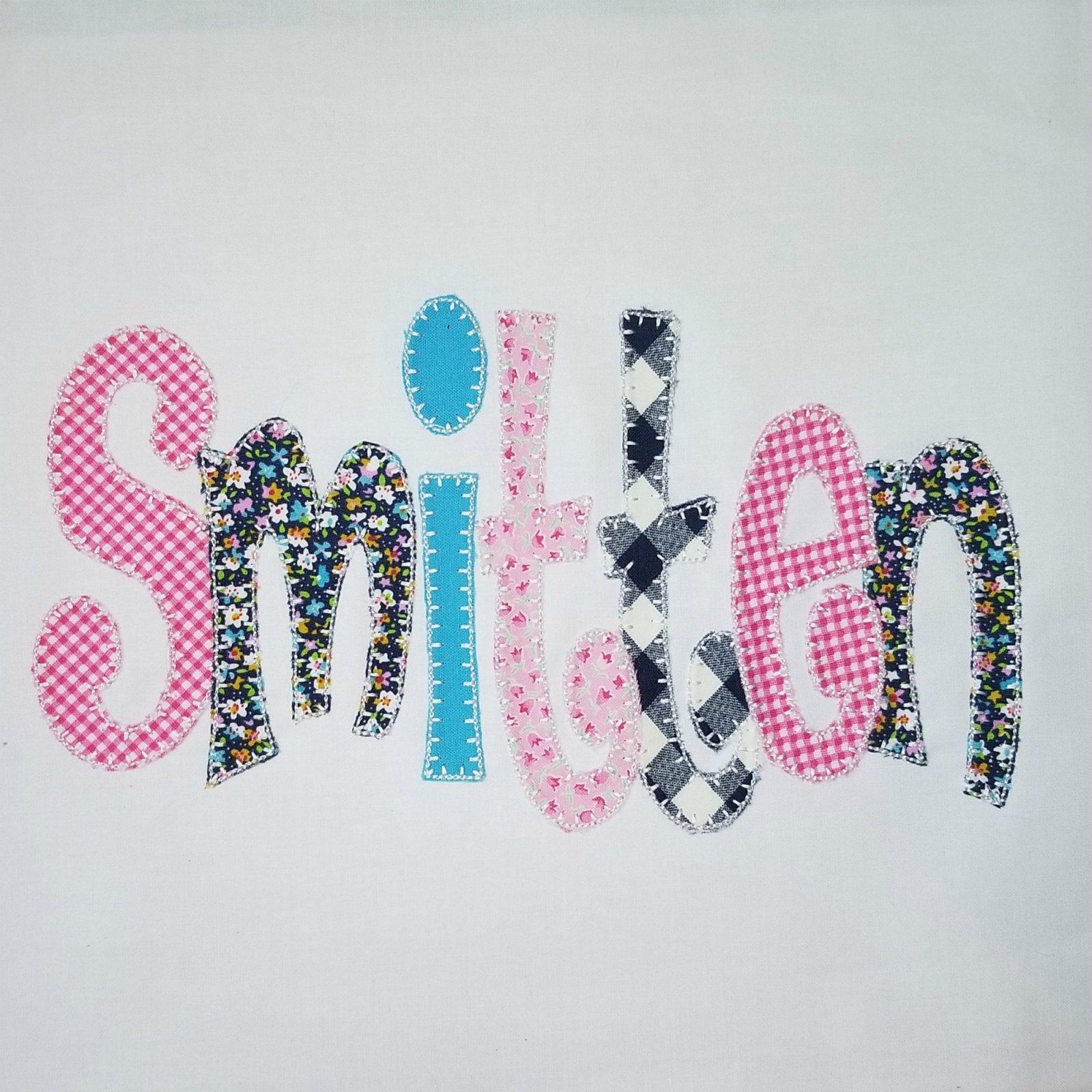Smitten Machine Applique Font - Blanket Stitch
