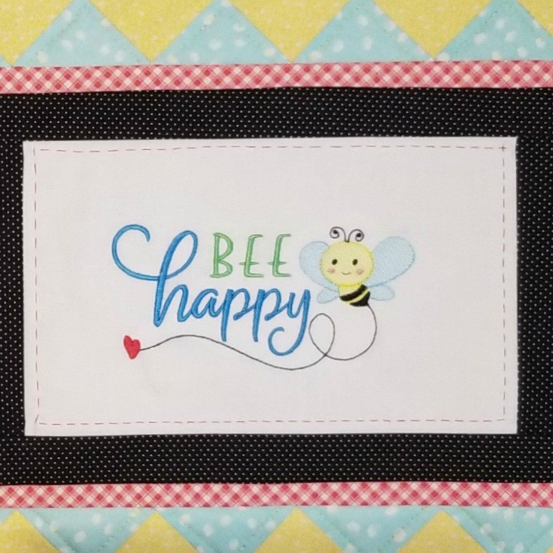 Bee Happy Machine Embroidery Design