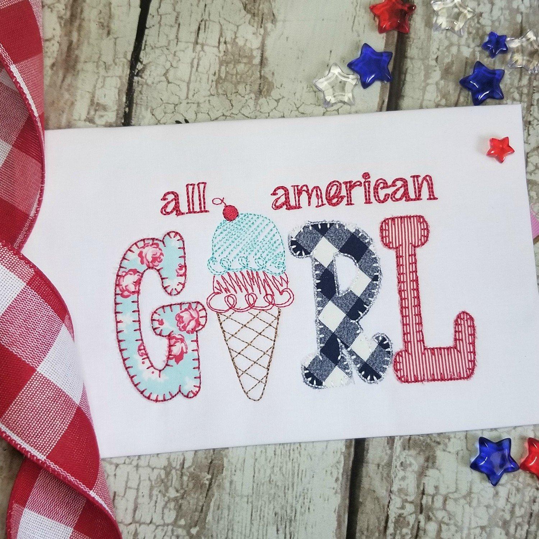 4th of July All American Girl Machine Applique Design - Blanket Stitch
