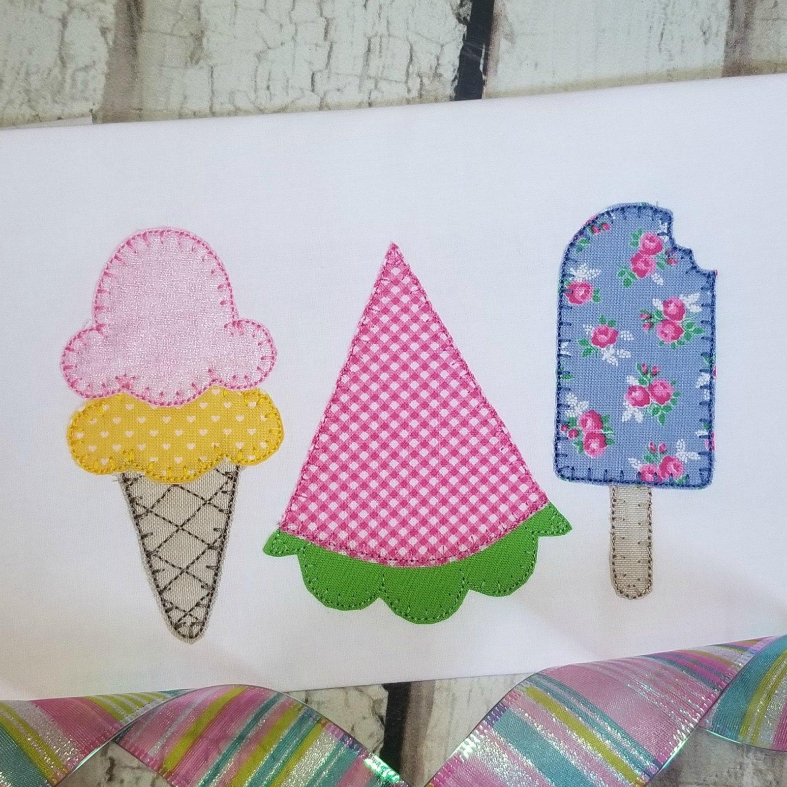 Ice Cream, Watermelon Machine Applique Design - Triple Stitch