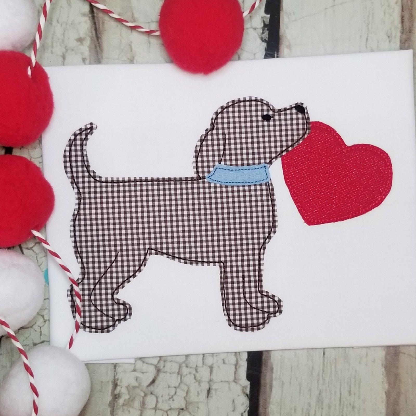 Dog with Heart Machine Applique Design