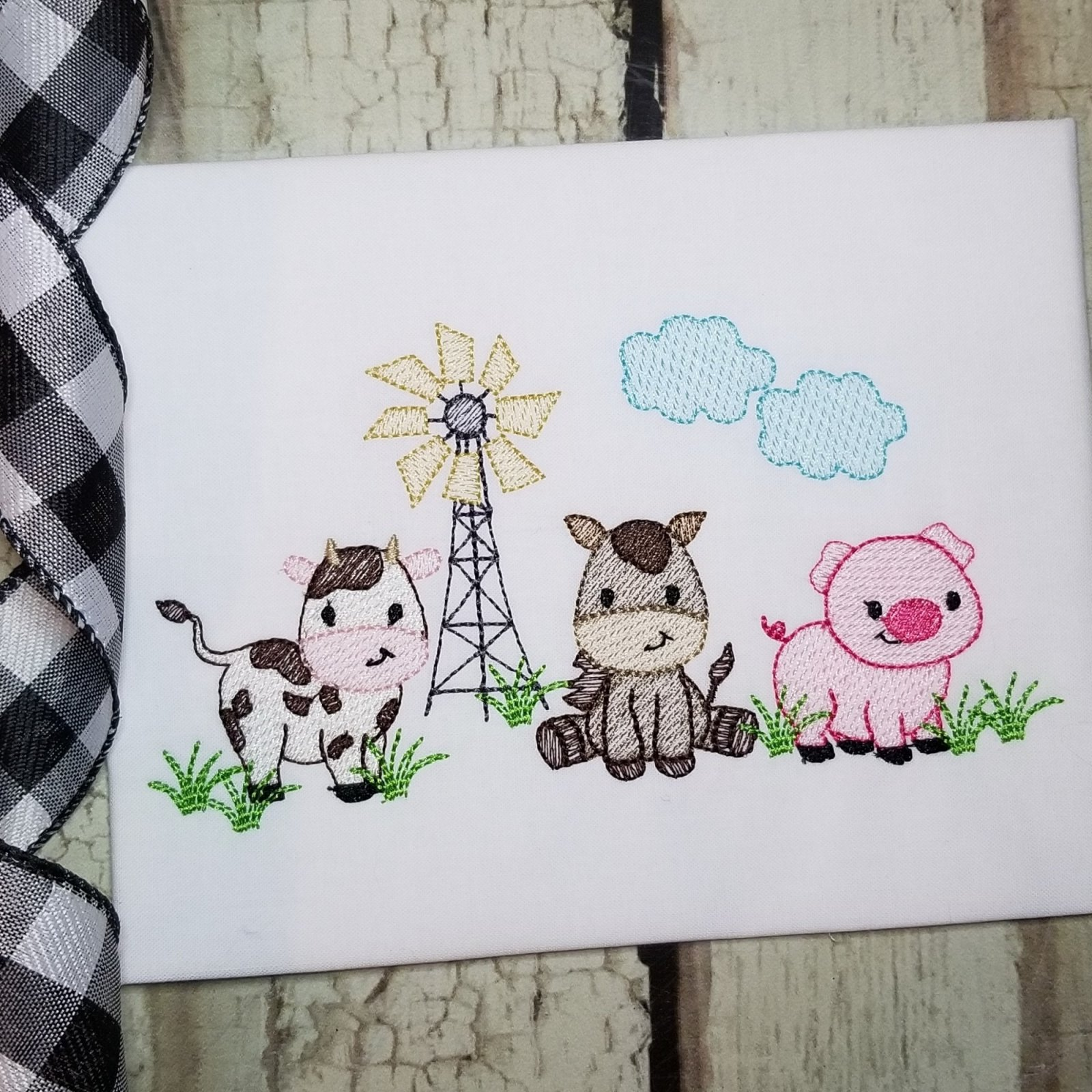 Farm Animals Machine Embroidery Design - Sketch Stitch