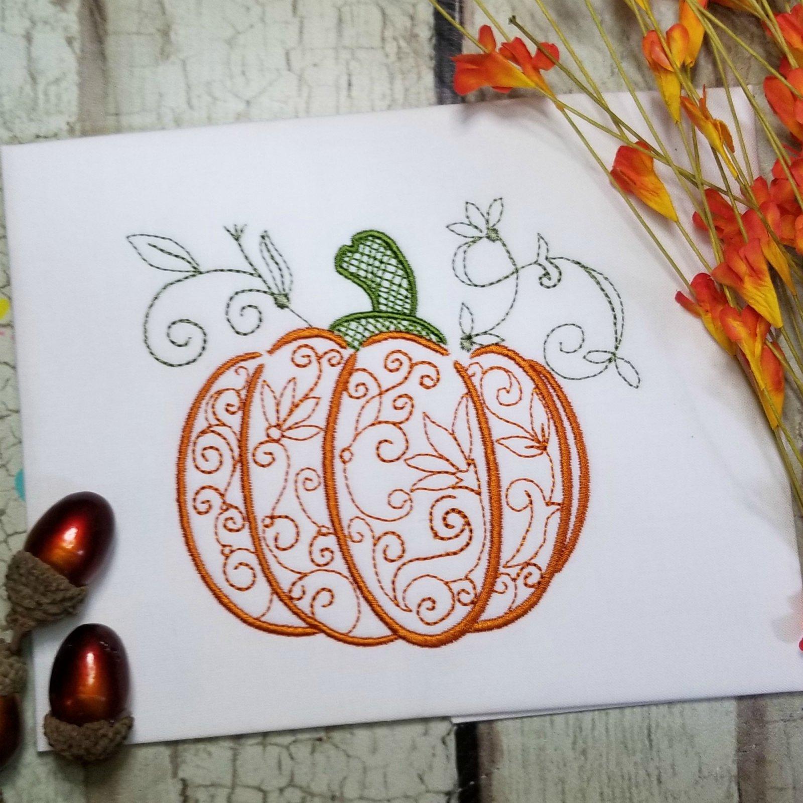 Filigree Pumpkin Machine Embroidery Design