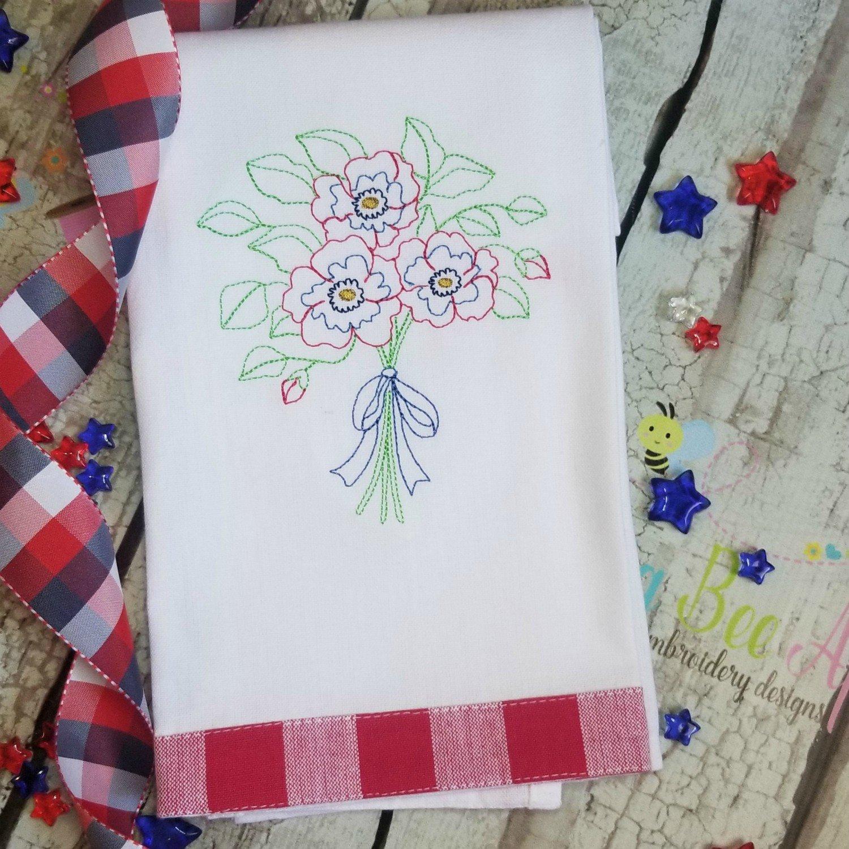 Flower Bouquet Embroidery Desgin - Vintage Stitch