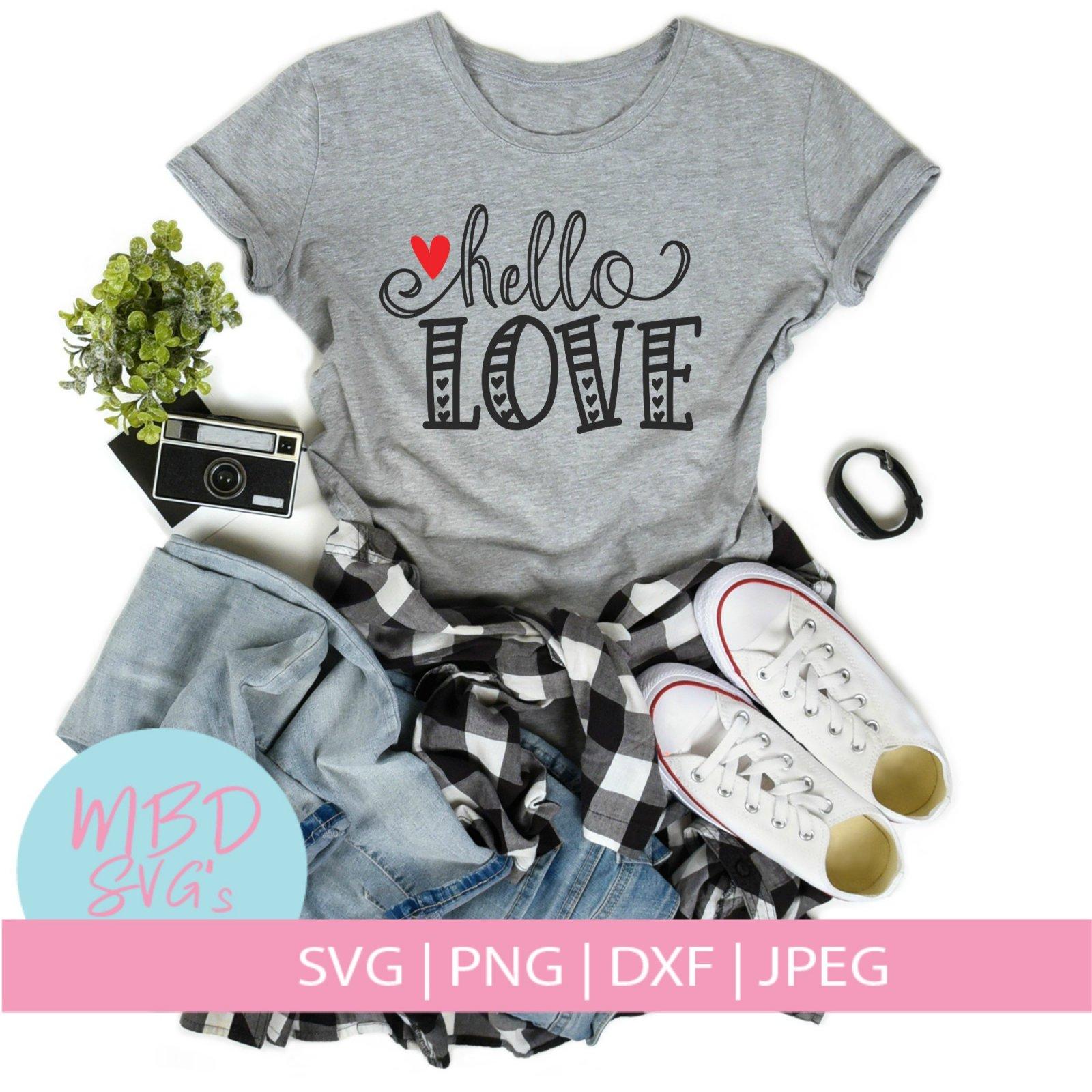 Valentines Day SVG Cut File for Silhouette or Cricut - Hello Love