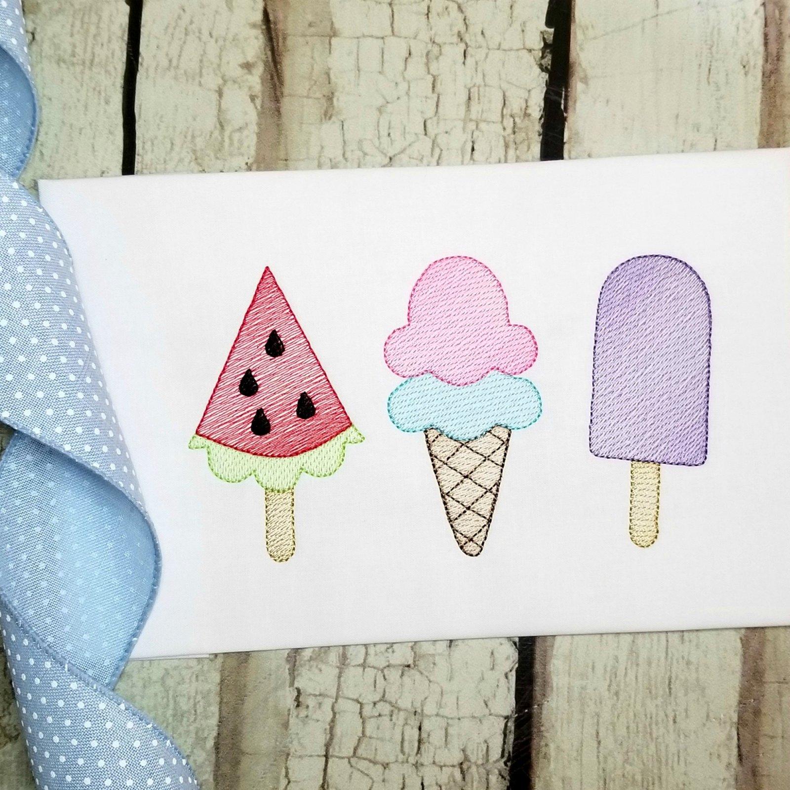 Ice Cream, Watermelon Machine Embroidery Design - Sketch Stitch