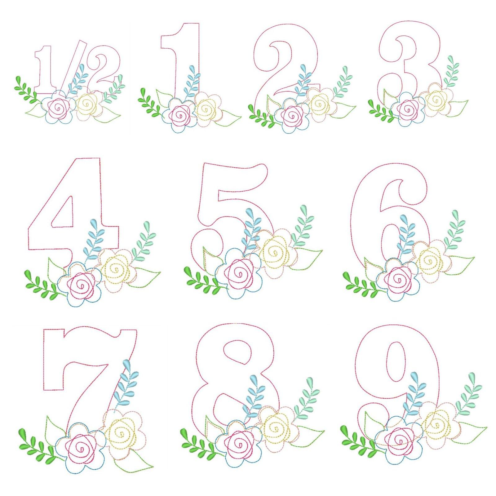 Floral Birthday Number Set Applique Design