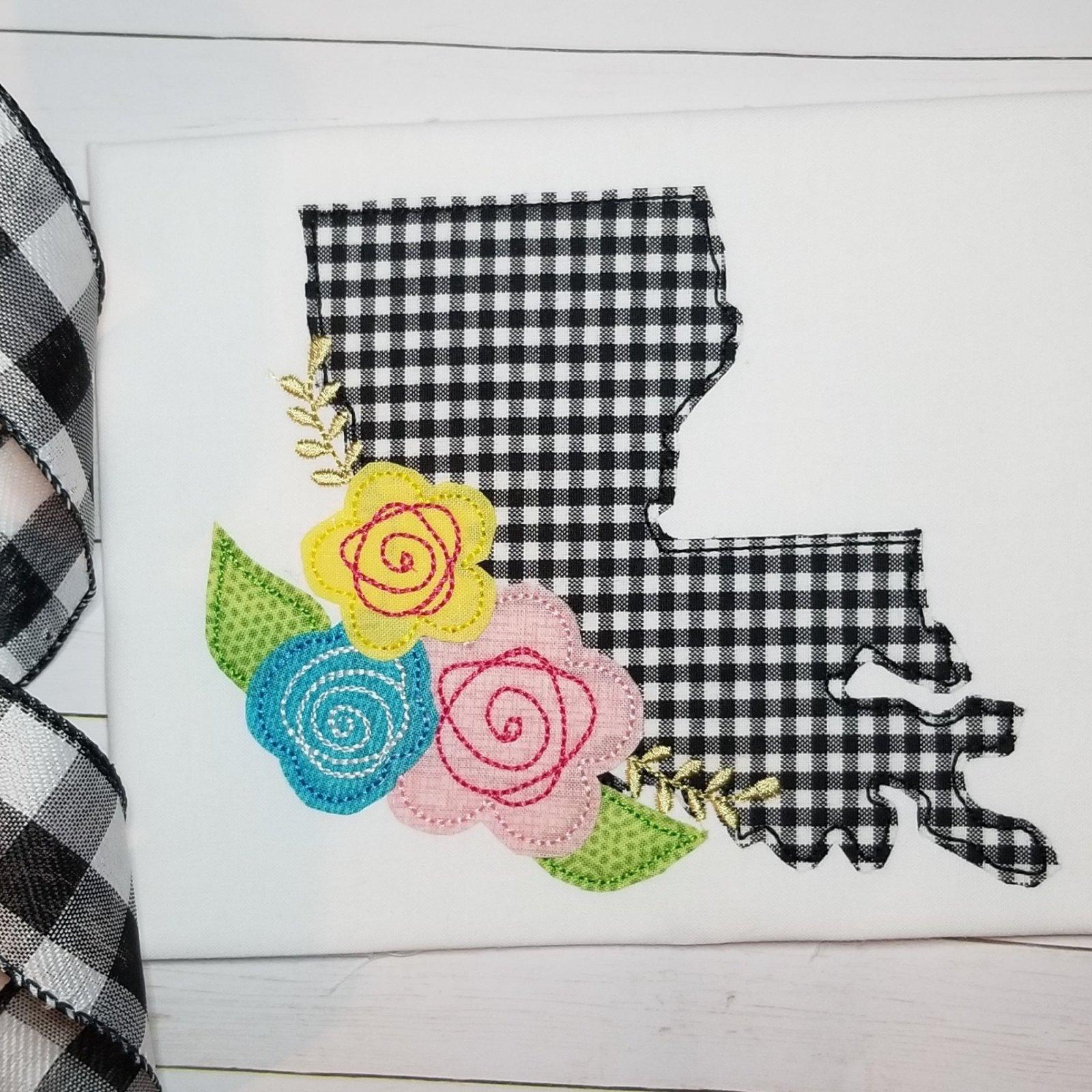 Louisiana with Flowers Applique Design
