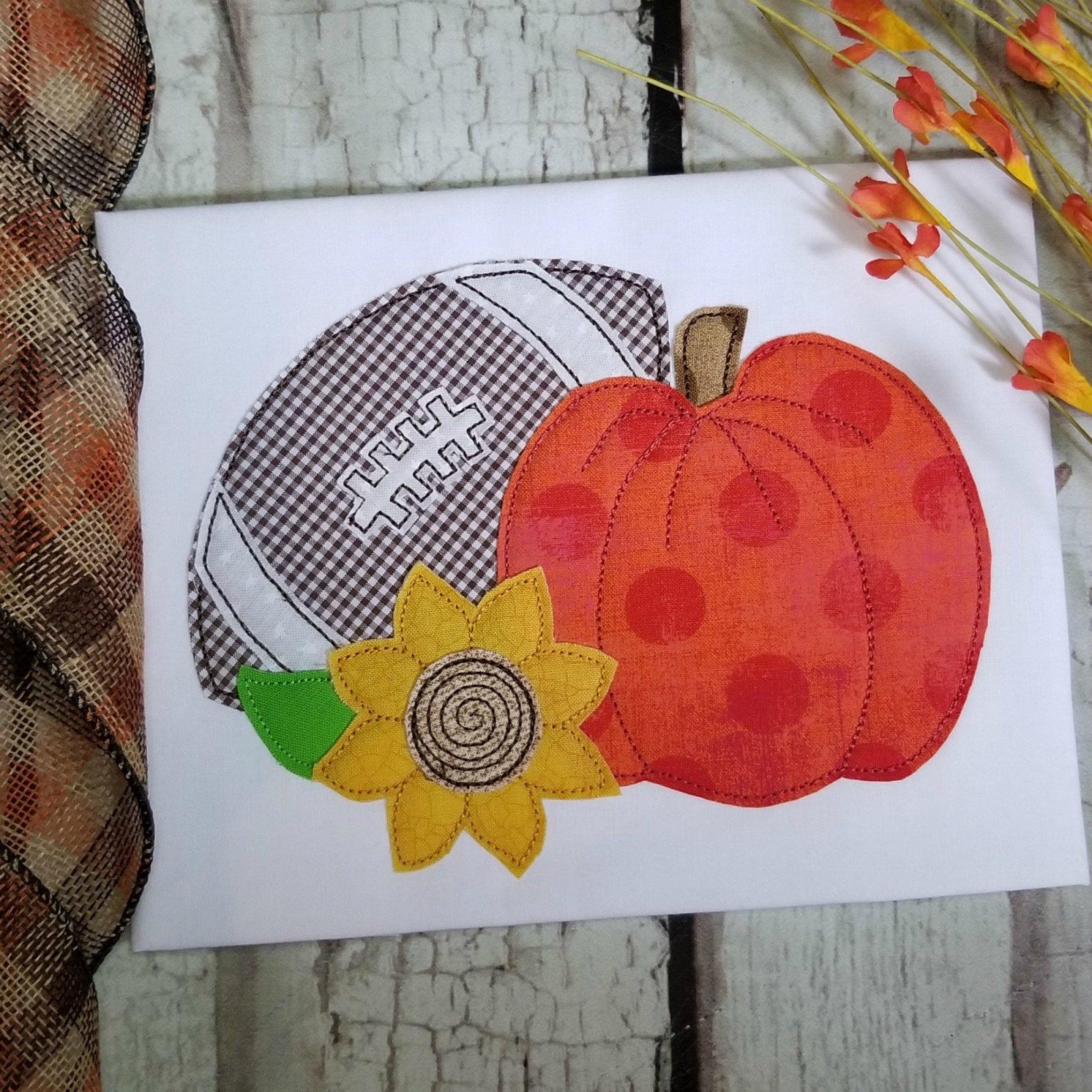 Pumpkin with Football and Sunflower Applique Design - Triple Stitch