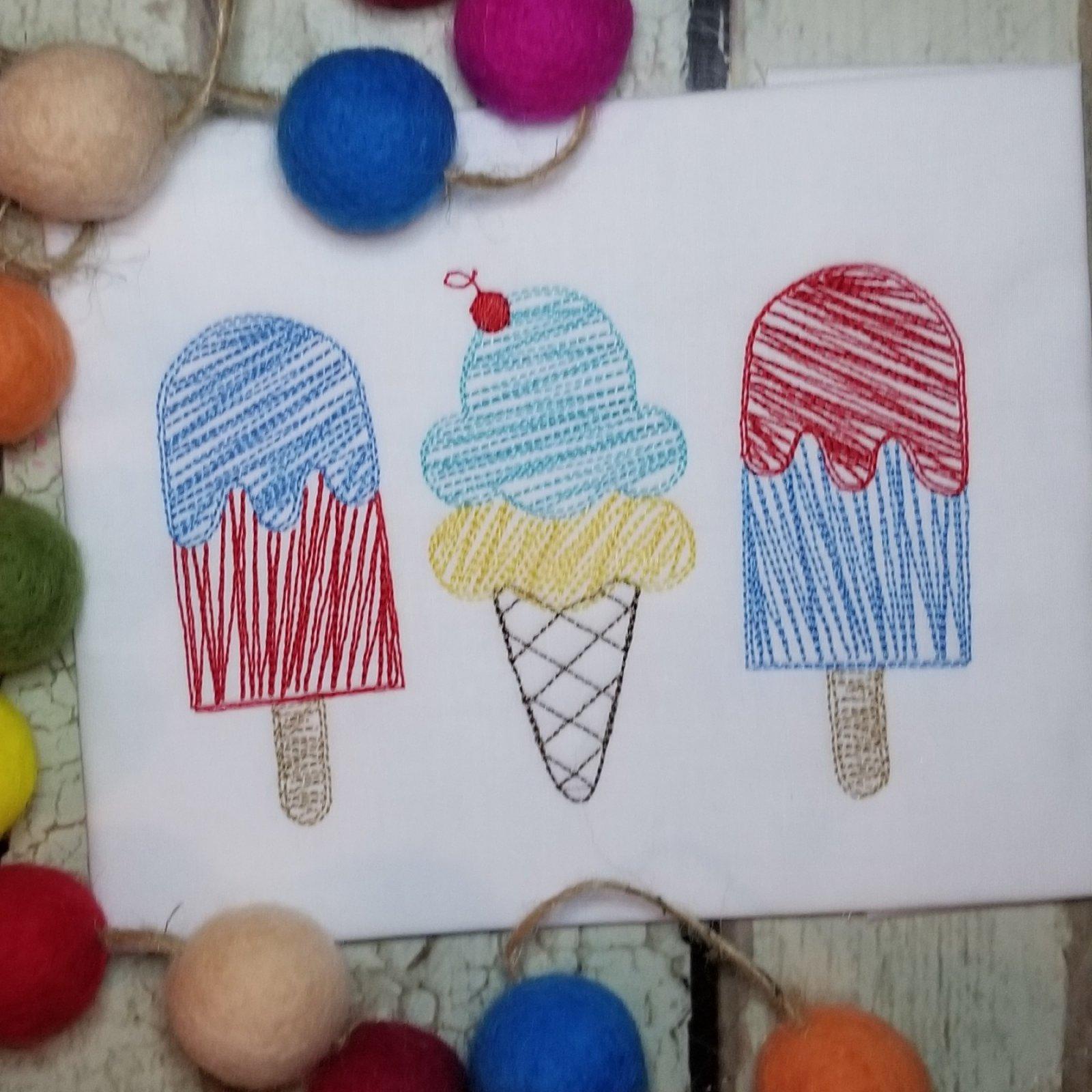 Popsicle, Ice Cream Cone Embroidery Design - Scribble
