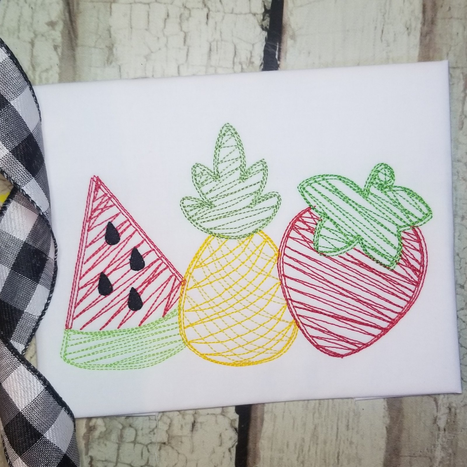Watermelon Pineapple Strawberry Embroidery Design