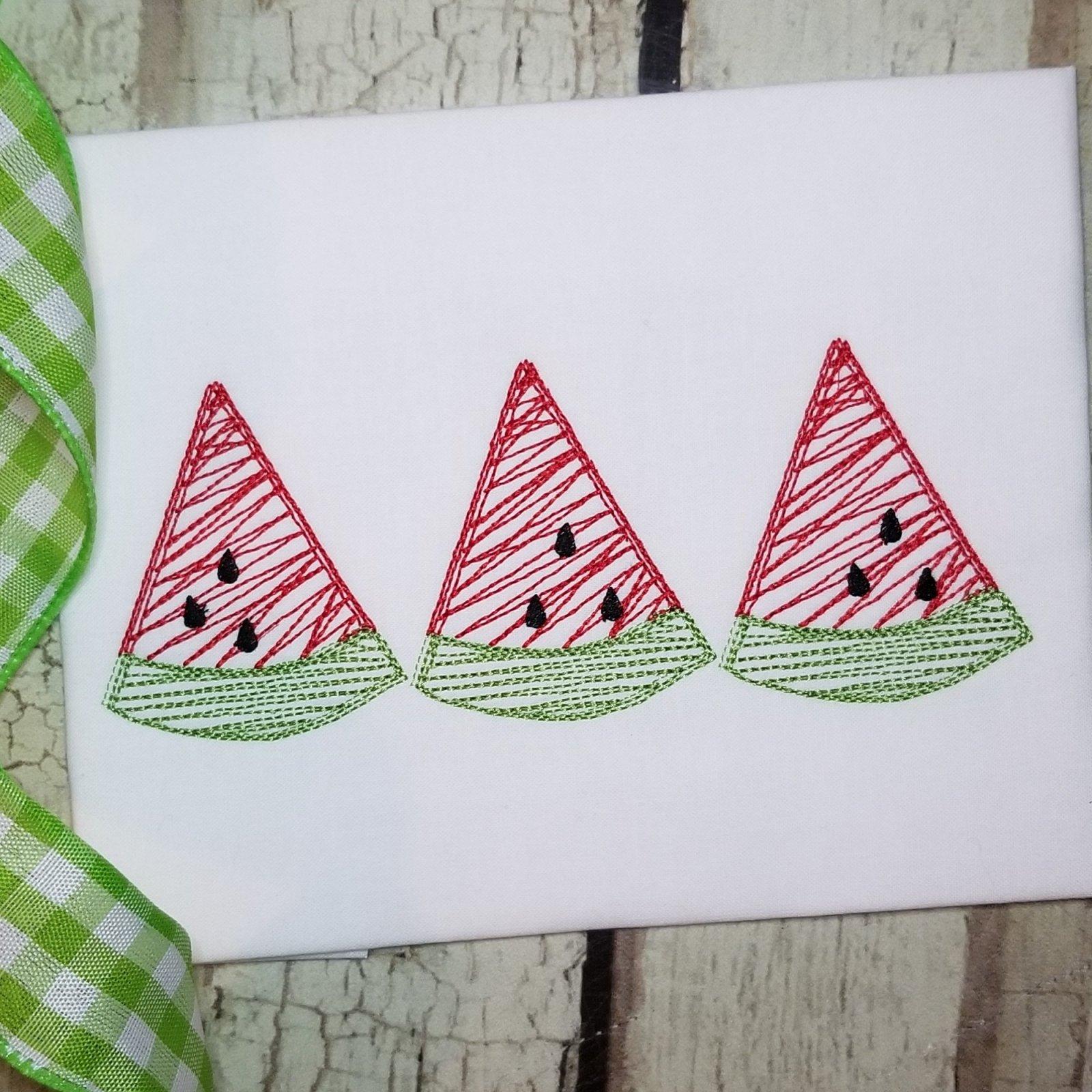 Watermelon Trio Embroidery Design - Scribble