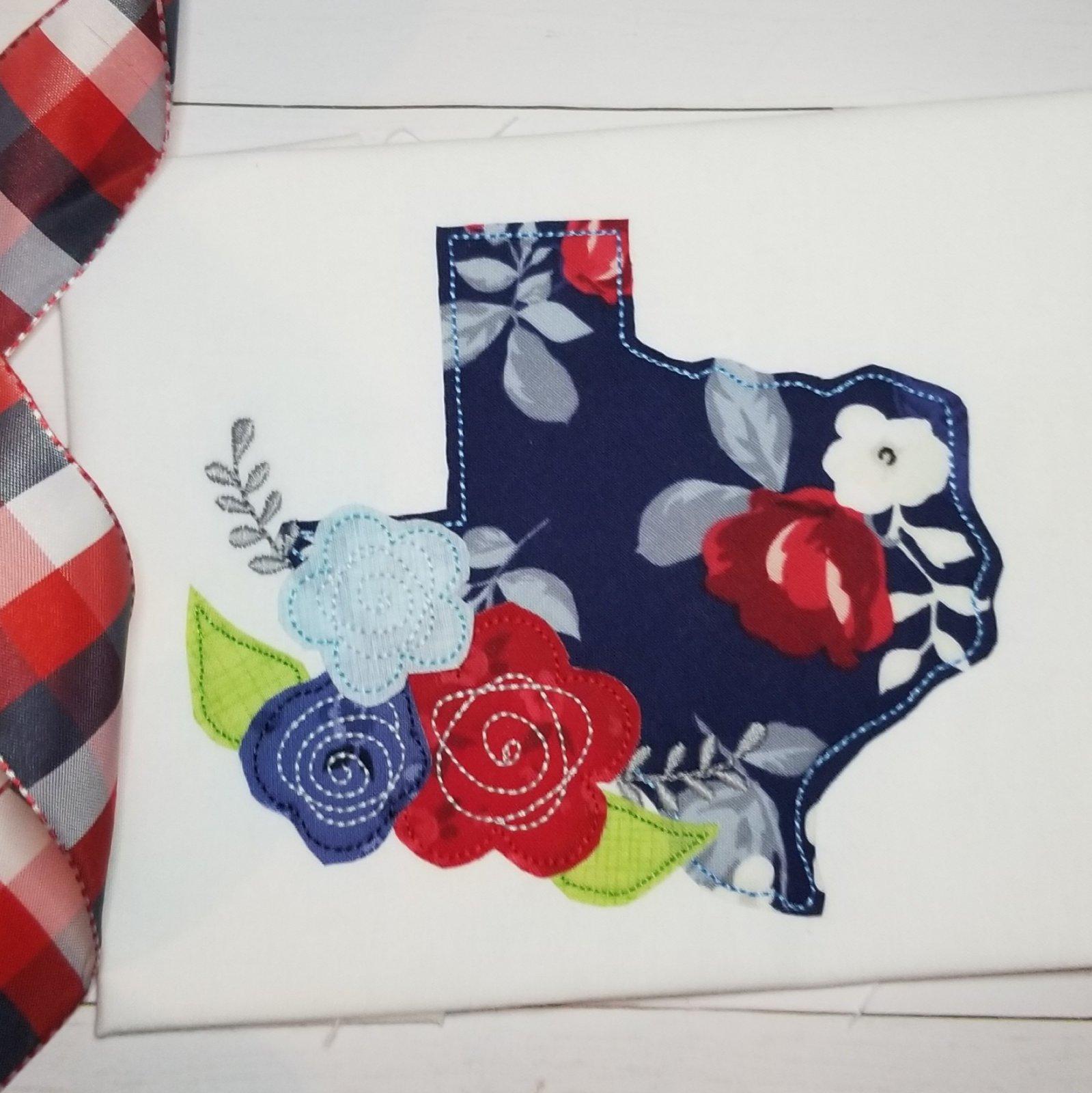 Texas with Flowers Applique Design