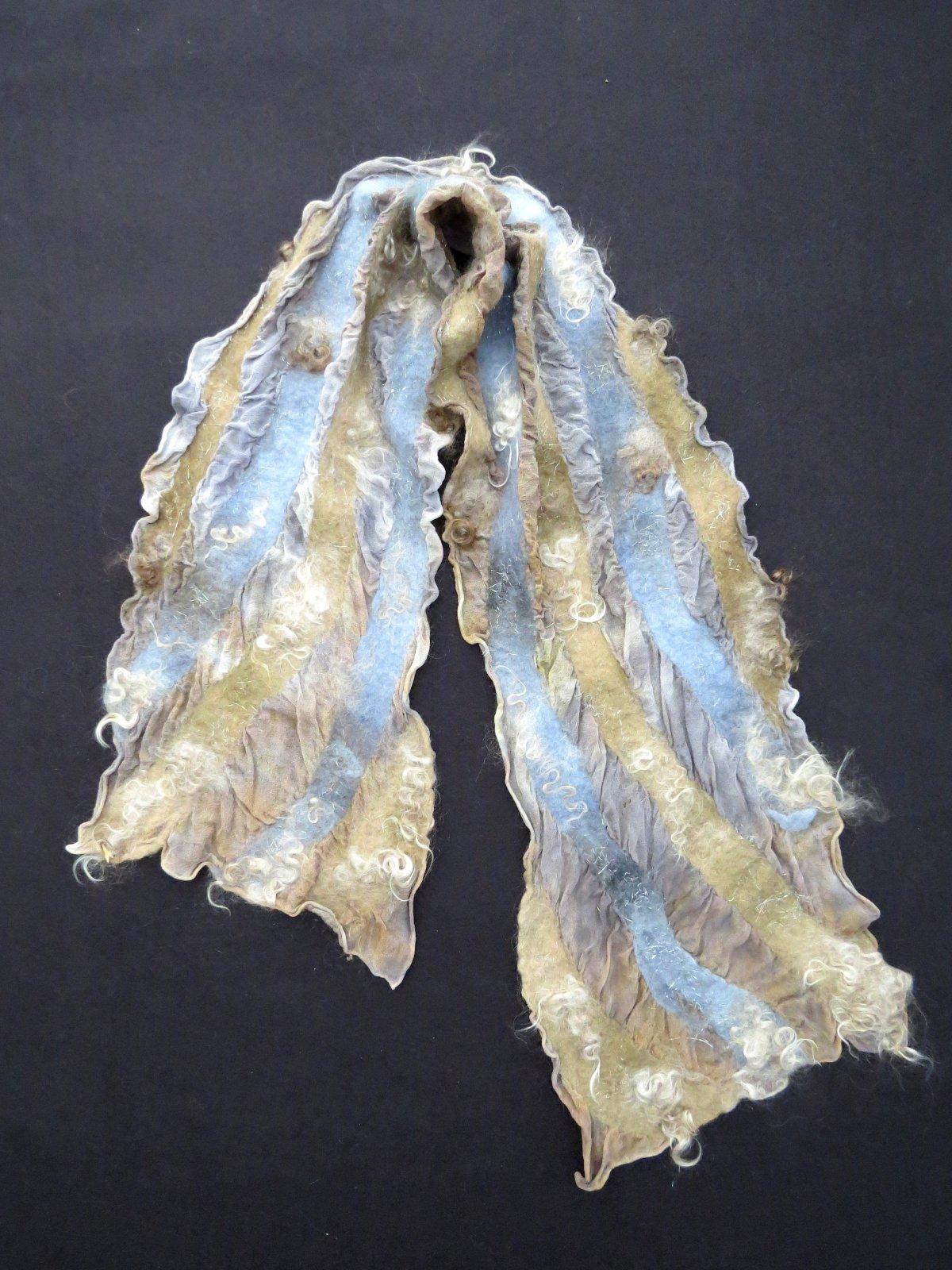 Nuno-felted Scarf - Gray/beige