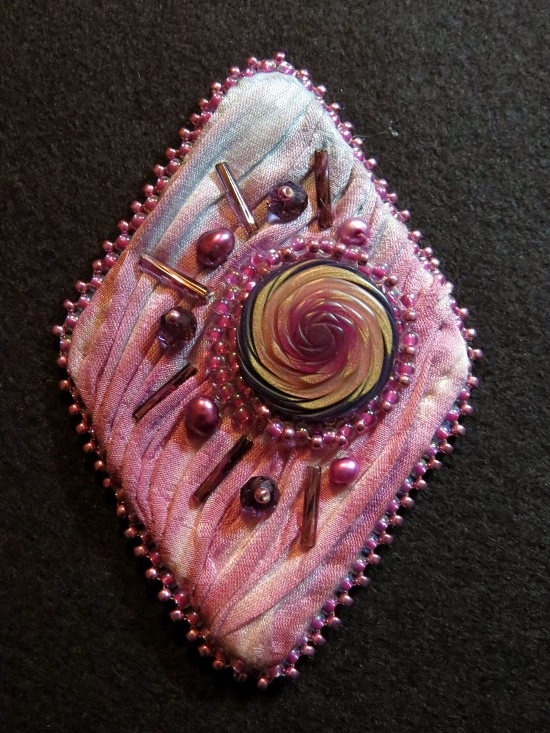 Pink Silk Shibori Pin