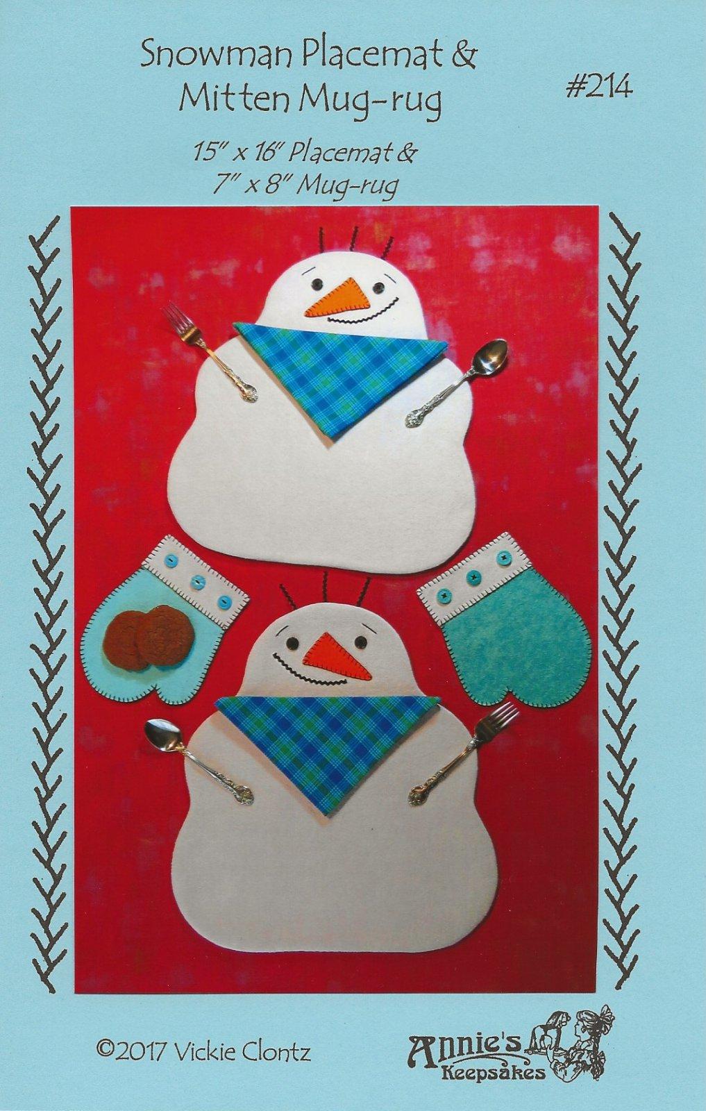 Snowman Placemat & Mitten Mug-rug