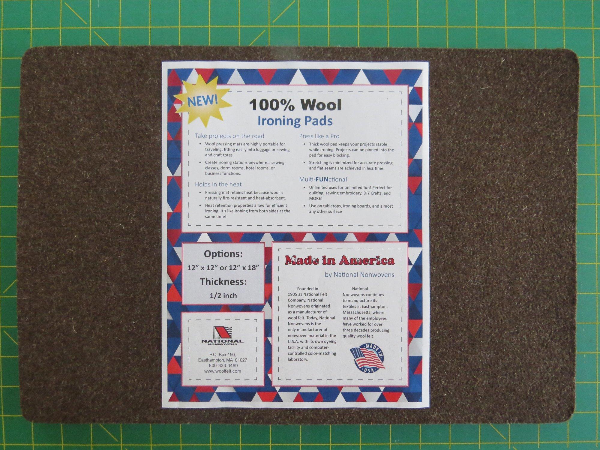100% Wool Ironing Pad 12 x 18