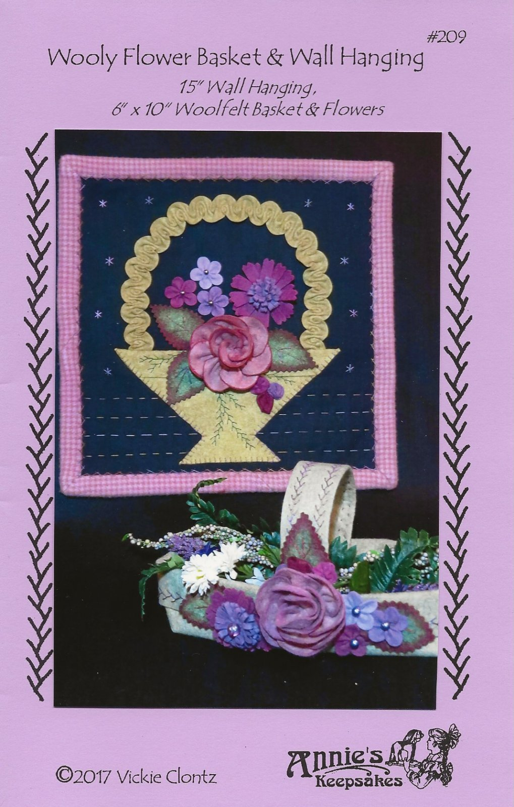 Wooly Flower Basket & Wall Hanging