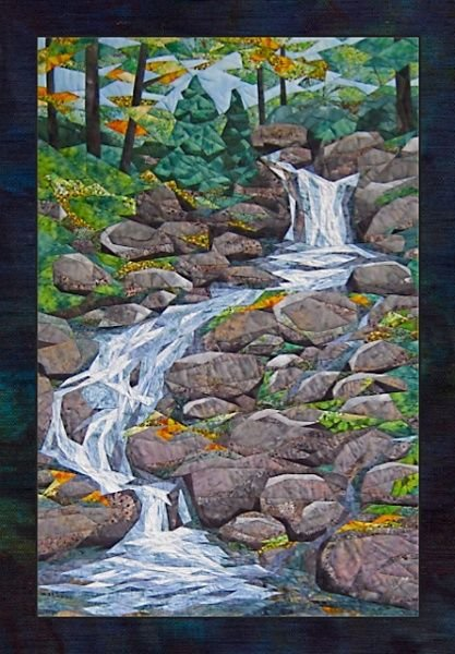 Waterfall picture piecing