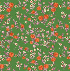 Windham Fabrics Heather Ross Trixie Mousie Florals Kelly  Green
