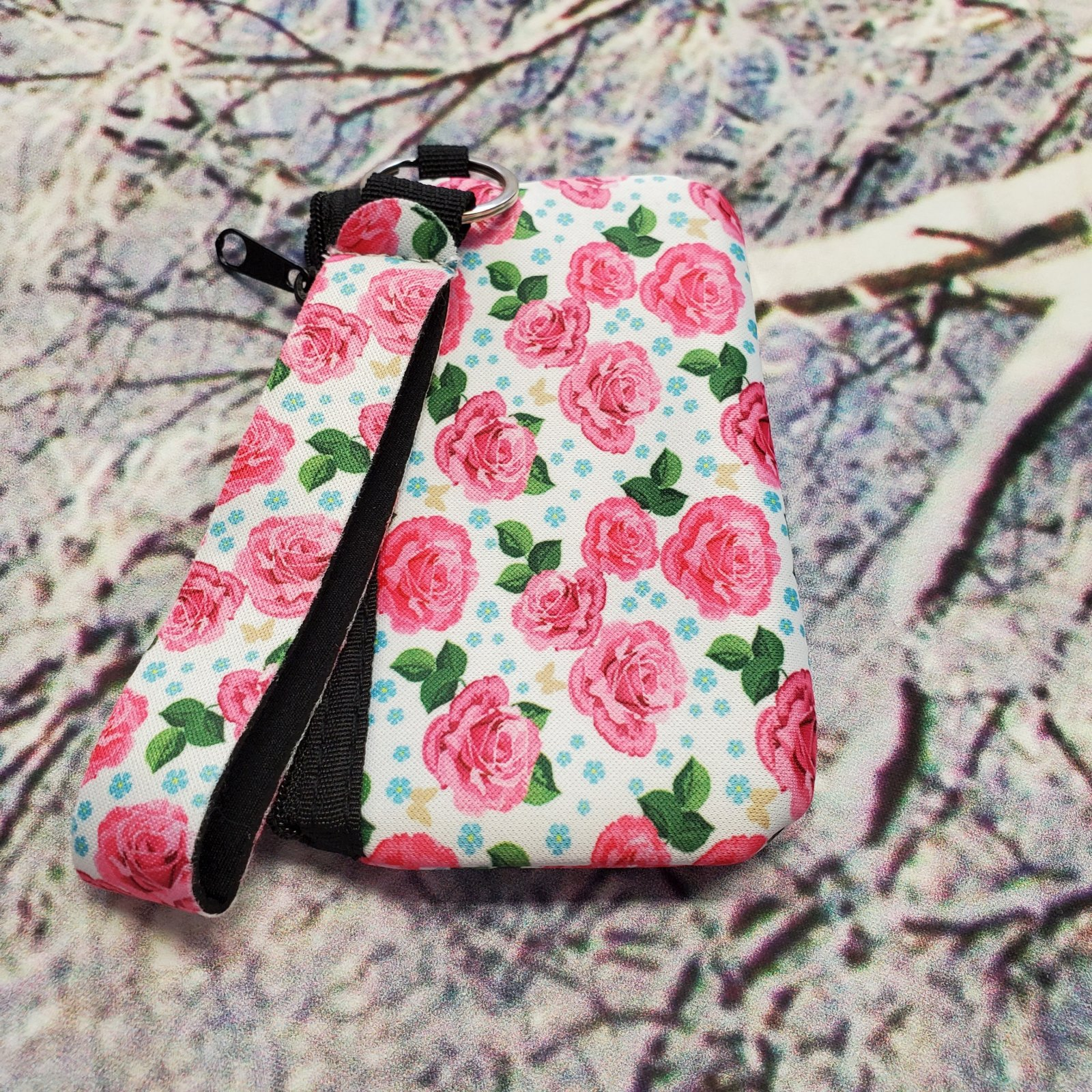 Pink Rose ID Wristlet