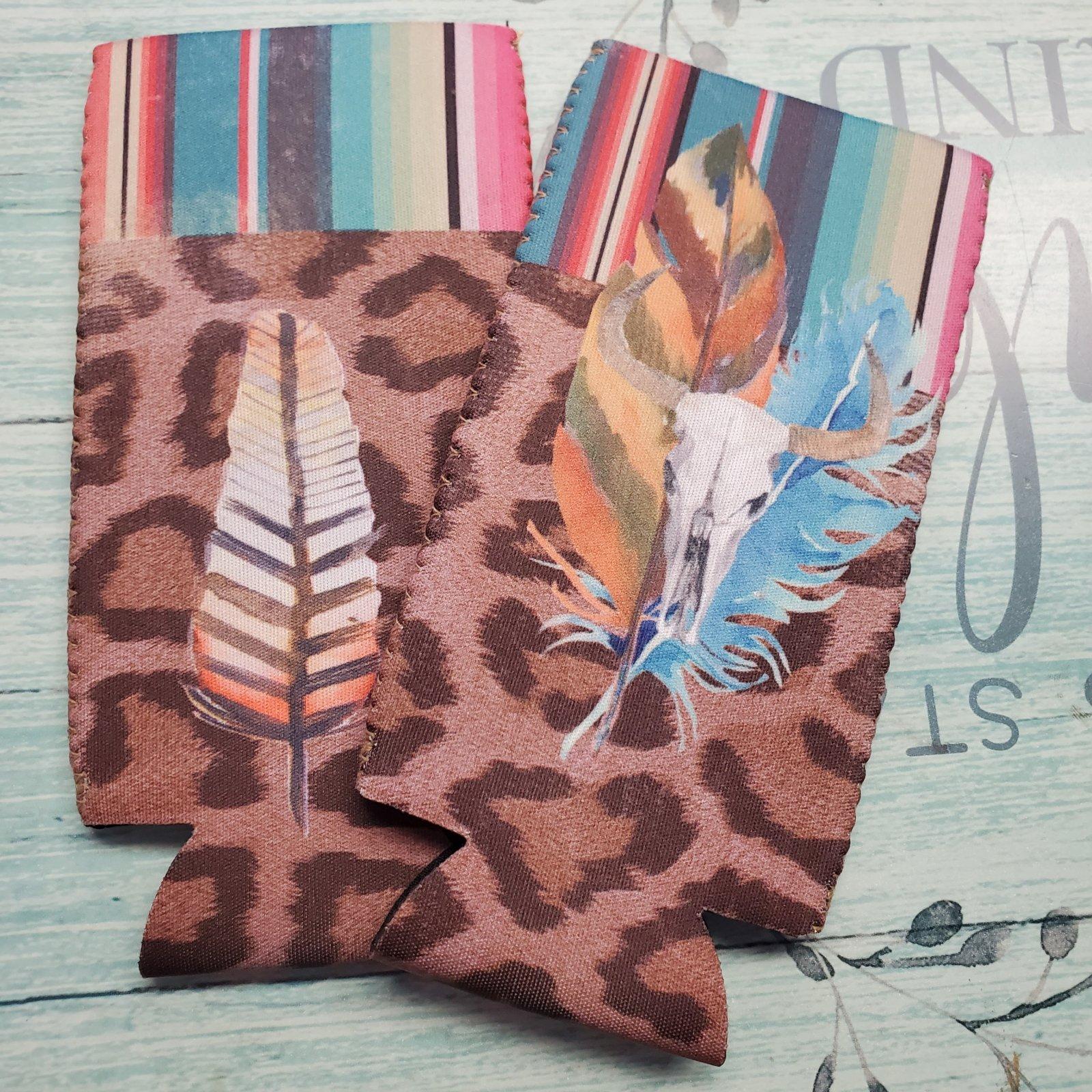 Slim Can - Leopard Bull Feather Stripe