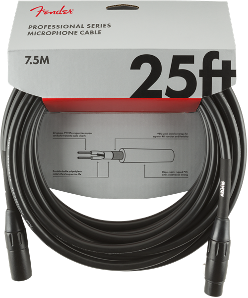 Professional Series Microphone Cable, 25', Black
