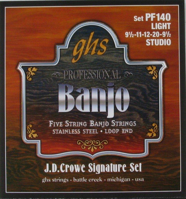 GHS Banjo 5 String Stainless Steel J.D. Crowe, .0095 - .020, PF140