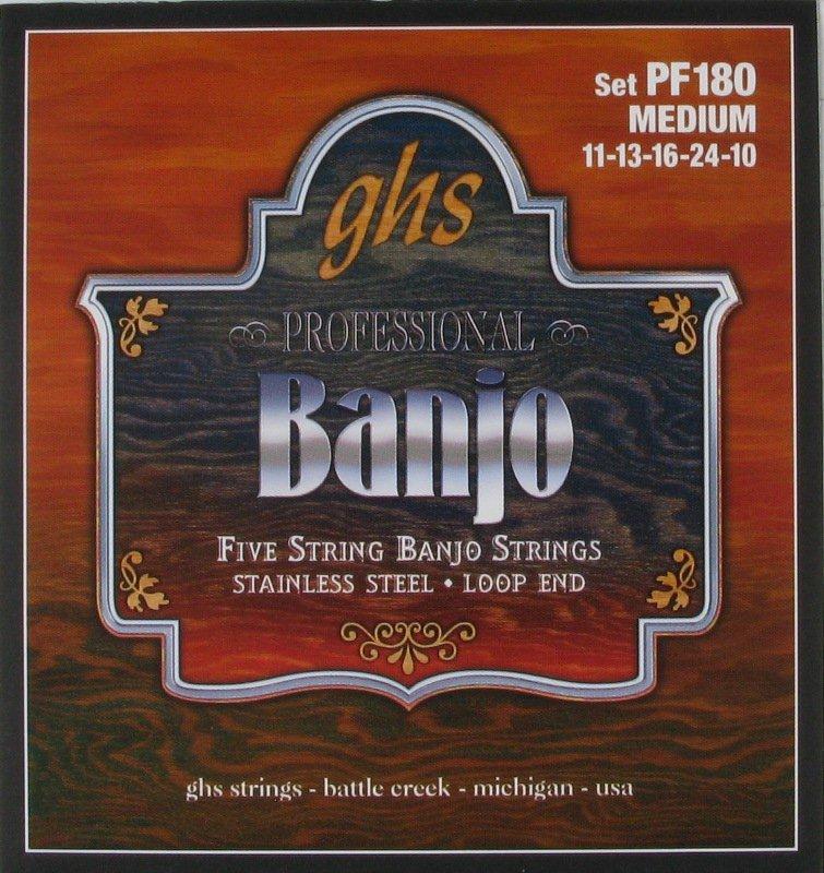 GHS Banjo 5 String Stainless Steel Medium, .011 - .024, PF180