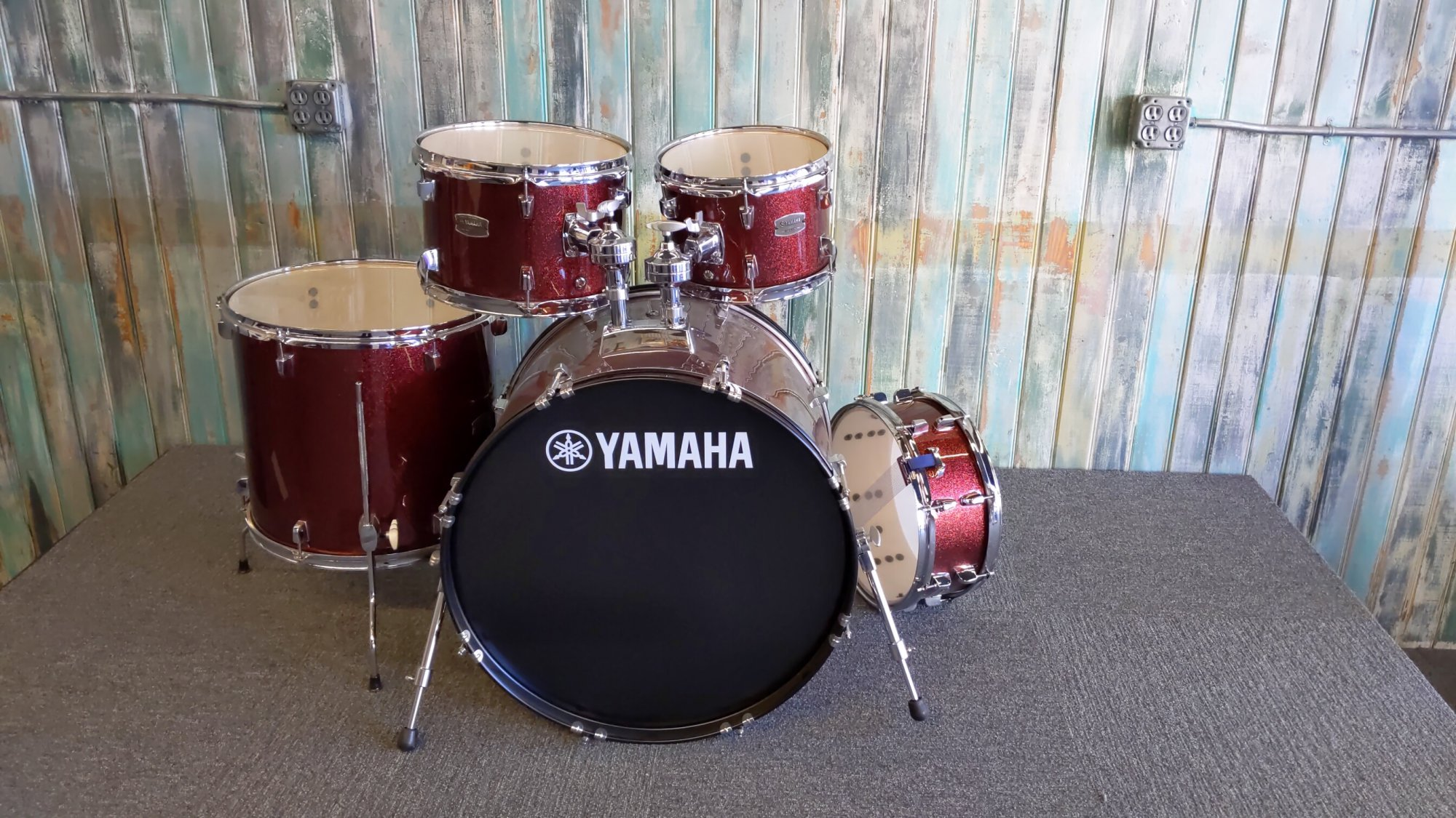Used Yamaha Rydeen Burgundy Glitter Drum Kit