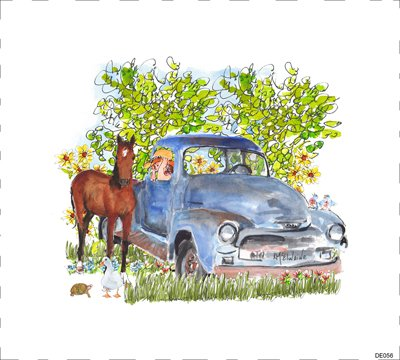 Horse Pony 1954 Chevy Truck Sunflowers