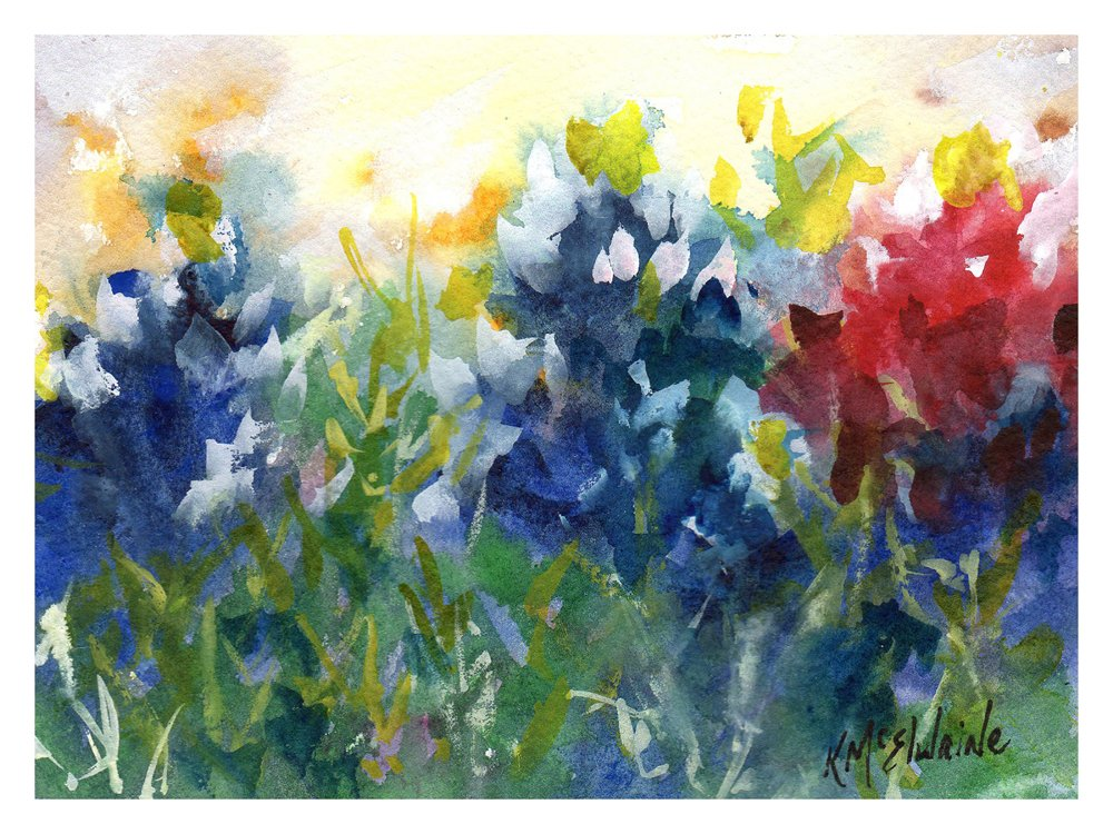 Red White and Bluebonnets Fine Art Print on Paper