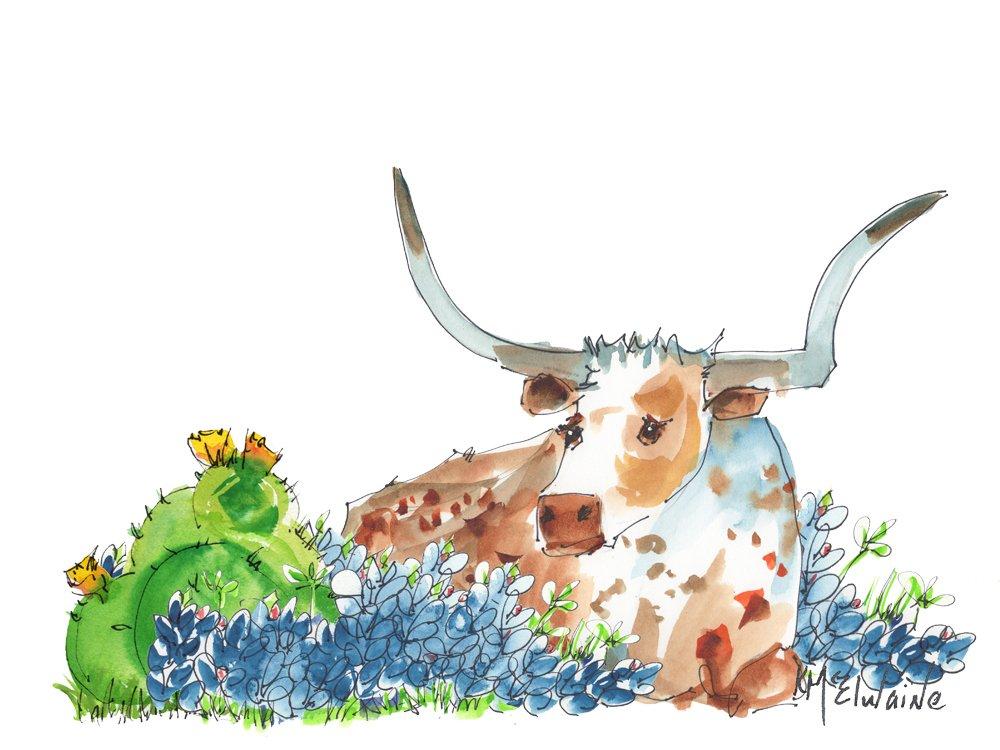 Bessie in the Bluebonnets Fine Art Print