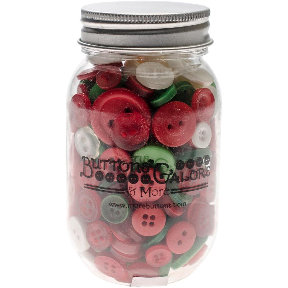 Buttons Galore Button Mason Jars-Christmas