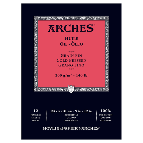 ARCHES OIL PAD 9X12 12 SHEETS