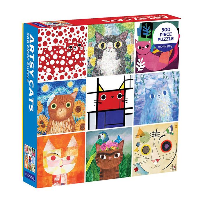 500 Piece Family Puzzles, Artsy Cats