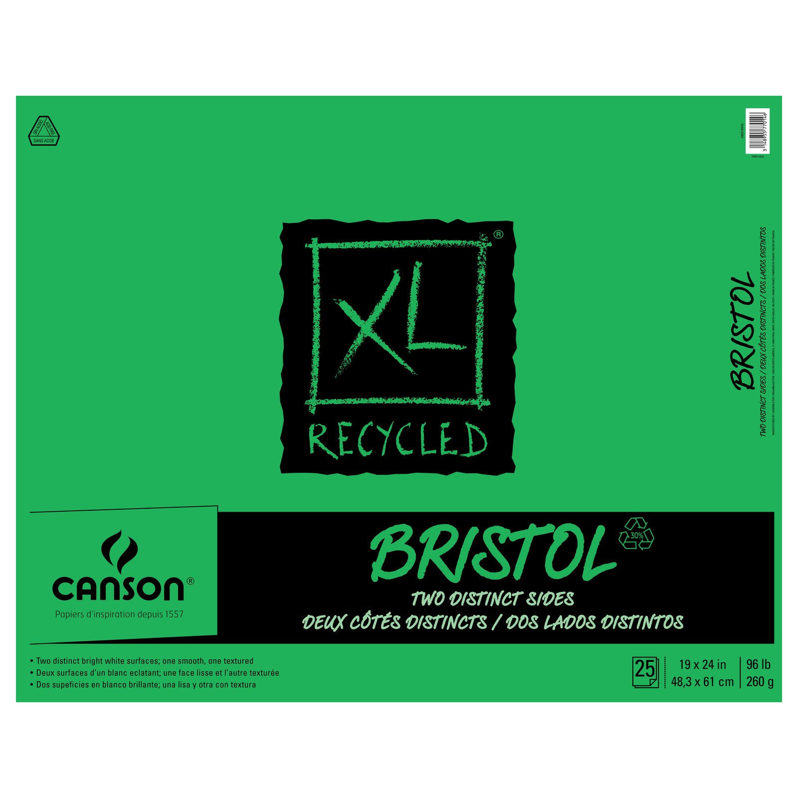 Canson XL Recycled Bristol Pads, 19 x 24 25 Shts./Pad