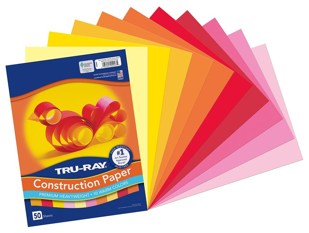 Tru-Ray Construction Paper, 9 x 12, Warm Assorted Colors